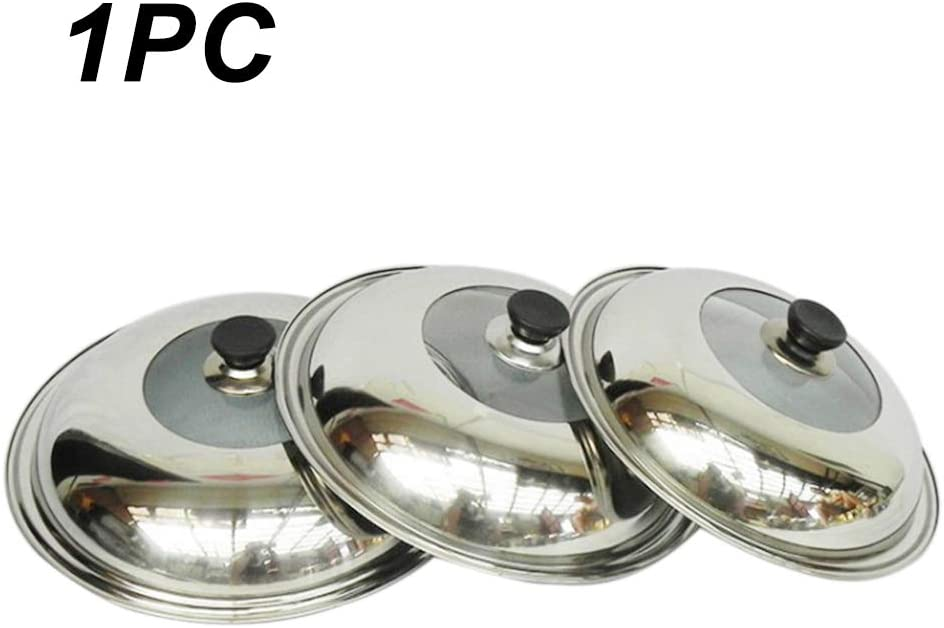 Universal Pan Lid Pot Lid Stainless Steel Pan Cover for Frying Wok Pot Dome Wok Cover