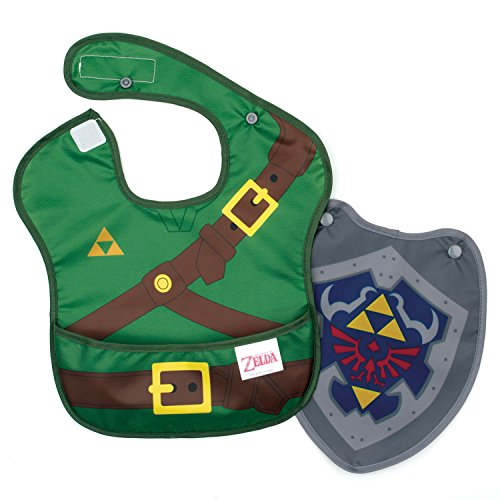 Bumkins Nintendo Zelda SuperBib, Baby Bib, With Cape Waterproof, Washable, Stain and Odor Resistant, 6-24 Months