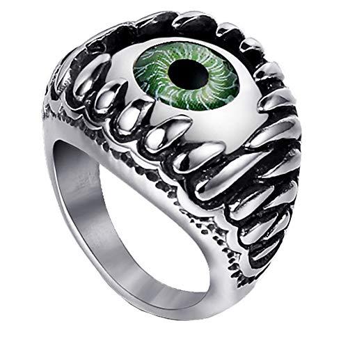 Oakky Men's Stainless Steel Retro Silver Black Gothic Dragon Claw Devil Evil Eyeball Biker Ring Dark Green Size 14