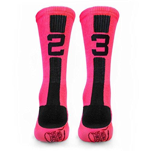 Ladies Personalized Basketball - Custom Team Number Crew Socks | Athletic Socks by ChalkTalkSPORTS | Pink/Black | 23