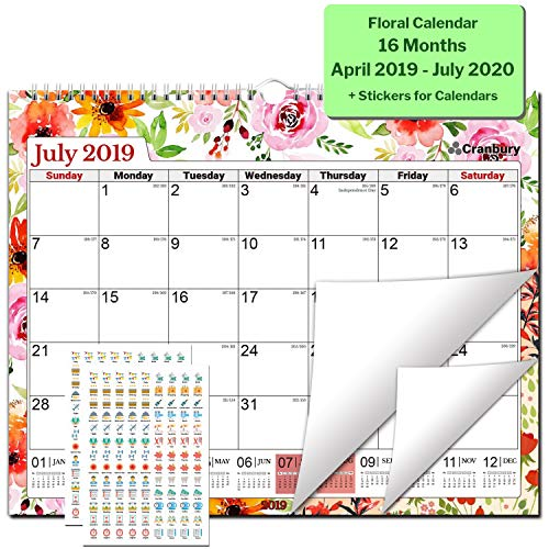 Academic Wall Calendar 2019-2020 (Floral) 15x12 Monthly Large Wall Calendar, Big Hanging Academic Calendar, Use Now to July 2020, with Stickers for Monthly Wall Calendar 2019