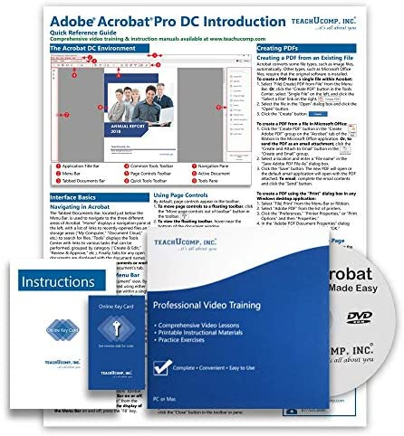 Amazon Com Learn Adobe Acrobat Pro Dc Deluxe Cpe Training Tutorial Package Video Lessons Pdf Instruction Manuals Printed And Laminated Quick Reference Guide Testing Materials And Certificate Of Completion
