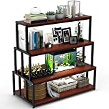 LITTLE TREE 4 Tier Bookshelf Bookcase, Free Standing Storage Display Shelf for Home Office, Cherry