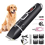 DBWUP Rechargeable Pet Clippers for Dogs,Cordless Dog Grooming Kits Low Noise Professional Clipper for Dogs Cats Hair Waterproof Dog Trimmer Easy to Use with 12 Additional Tools & Smart LED Screen