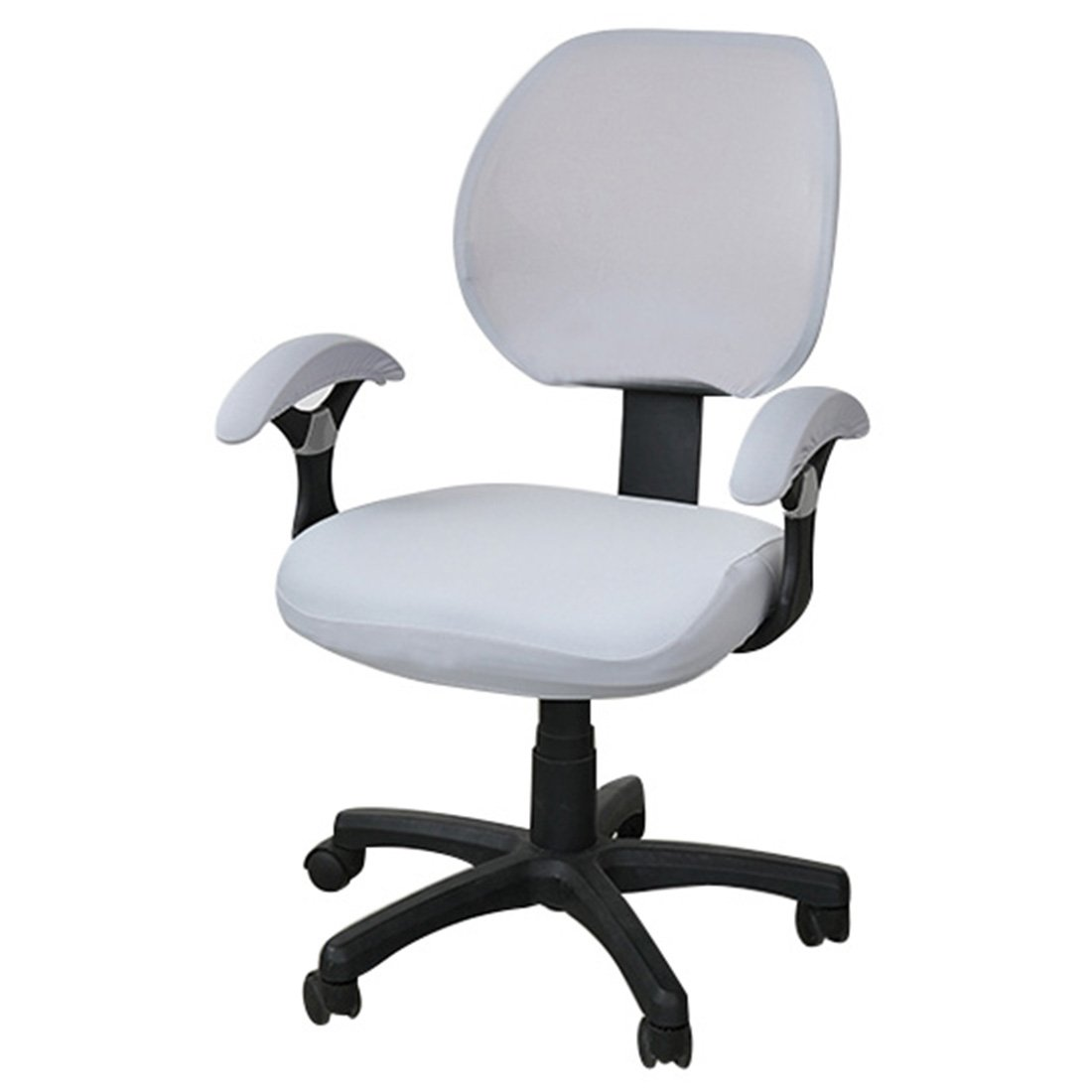 Freahap Chair Cover Stretch Spandex Washable Removable for Office Home Desk Swivel Chair Protector Silver Grey