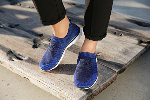 Vibdiv Mens Skor För Att Köra Lätt Spets-up Flyknit Mode Sneakers Blå