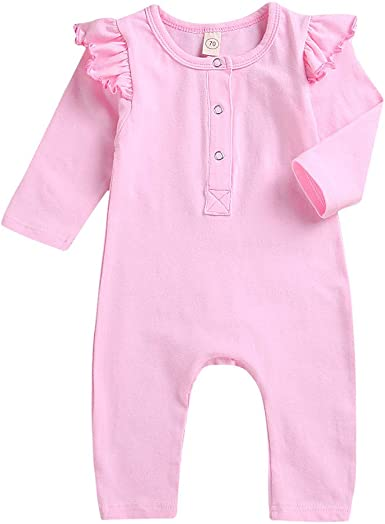 Newborn Baby Girl Fly Sleeve 100/%Cotton Romper Bodysuit Jumpsuit Outfits Clothes