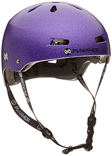 (Punisher Skateboards Pro Youth 13 Vent Bright Flake Dual Safety Certified BMX Bike & Skateboard Helmet, Purple, Medium)