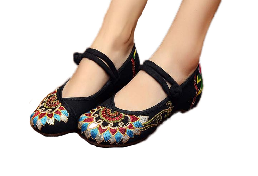 AvaCostume Women's Buddhism Totem Embroidery Casual Mary Jane Shoes, Black 38