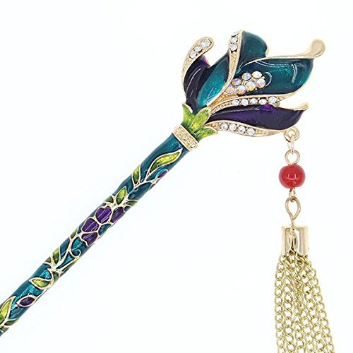 e Enamel Floral Hair Stick Rhinestones and Tassels (Floral Petals, Green) ()