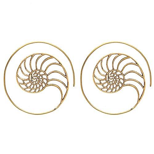 81stgeneration Women's Brass Gold Tone Golden Ratio Spiral Shell Ethnic Tribal Flat Earrings