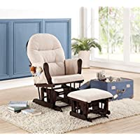 Naomi Home Brisbane Glider & Ottoman Set with Cushion in Cream and Finish in ...
