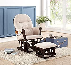 Naomi Home Brisbane Glider & Ottoman Set with Cushion in Cream and Finish in Espresso