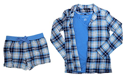 - Nautica Button Front Shirt, Tank Top & Boxers 3-Piece Pajama Set (Small, Blue Plaid/Blue)