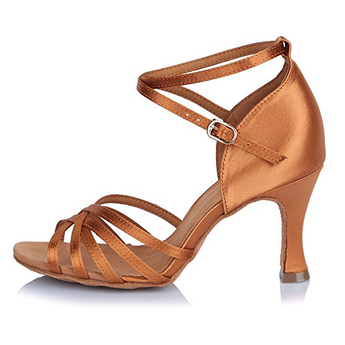 Roymall Women Satin Latin Dance Shoes Ballroom Salsa Tango Performance Schoenen, Model Af401 Brown-1