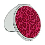 Compact Mirror FMG Silver Plated Animal Skin Cover With True & Magnification Image SC1426 (Pink Cheetah)