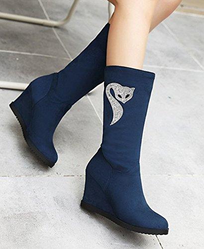 Strass Bottes Compensé Aisun Mode Bleu Renard Talon Femme 6Y7Tn