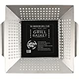 The American Grill Club Grilling Basket - Large Stainless Steel Portable Indoor Outdoor BBQ Pan - Barbeque Veggies, Kabobs or Charbroil Fish in Backyard or While Camping with Propane Gas or Charcoal