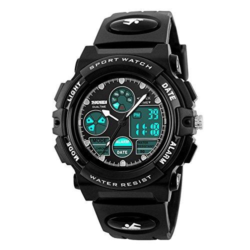 eYotto Kids Sports Watch Waterproof Boys Multi-Function Analog Digital Wristwatch LED Alarm Stopwatch Black (Boys Waterproof Watches For Kids)