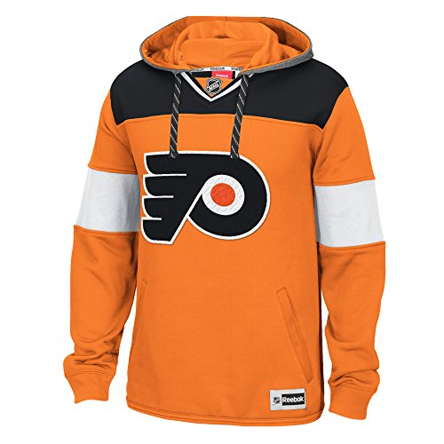 NHL Philadelphia Flyers Men's Face Off Jersey Pullover Hoodie, Medium, Orange