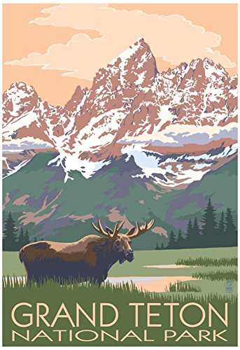 Grand Teton National Park - Moose and Mountains Poster 13 x 19in - Mountains Grand Teton National Park
