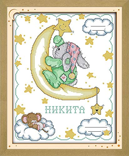 CaptainCrafts New Cross Stitch Kits Patterns Embroidery Kit - Patch Rabbit Birth Certificate (STAMPED) ()
