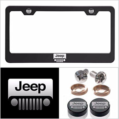 Jeep Black Powder Coated Bottom Engraved License Plate Frame Holder Four Hole