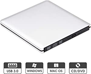 ROOFULL External DVD Drive USB 3.0 Slim Aluminum Portable CD DVD +/-RW Optical Drive Burner Writer Player for Windows 10 8 7 Laptop Computer Mac MacBook Pro Air iMac, Silver