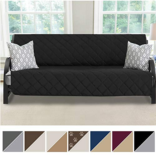 "MIGHTY MONKEY Premium Reversible Futon Slipcover, Seat Width to 70"" Furniture Protector, 2"" Elastic Strap, Washable Slip Cover for Futons, Protects from Kids, Dogs, Cats (Futon: Black/Gray)"