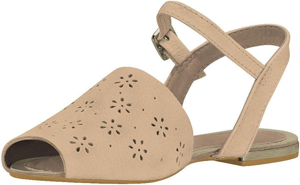 Sizes 11.5 Little Kid - 6.5 Big Kid Girls Sunshine Perforated Sandal in Ecru