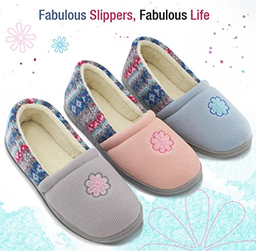 Closed Colour Spring Indoor Summer Grey Shoes Stripe HomeIdeas Foam House with Back Slippers Outdoor Velvet Memory Women's 0xT6Y8