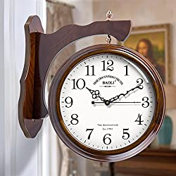HUIYUE European Double Sided Quartz Clock,Vintage Wooden Wall Clock,Silent Wall Clock,Roman Numerals Scanning Movement for Kitchen Bedroom Hallway-B 33cm(13inch)