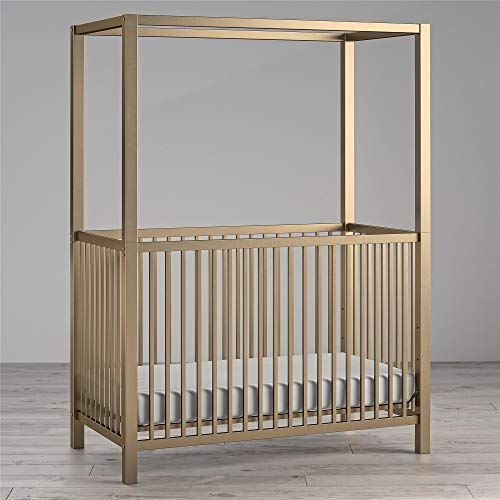 Little Seeds Monarch Hill Haven Metal Canopy Crib, Gold