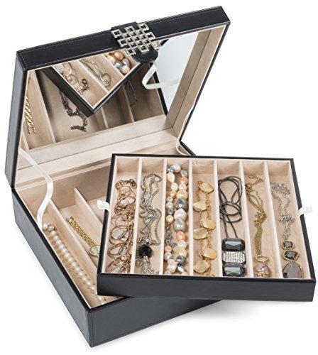 glenor Co 12sección soporte de collar–Espejo Grande–2bandejas–Funda de piel...