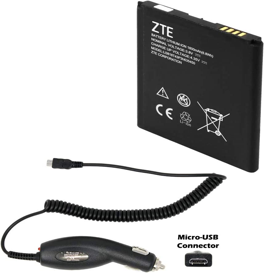 Genuine LI3818T43P3H635450 1800mAh 3.8V Battery for ZTE Z820 Obsidian with Micro Car Charger