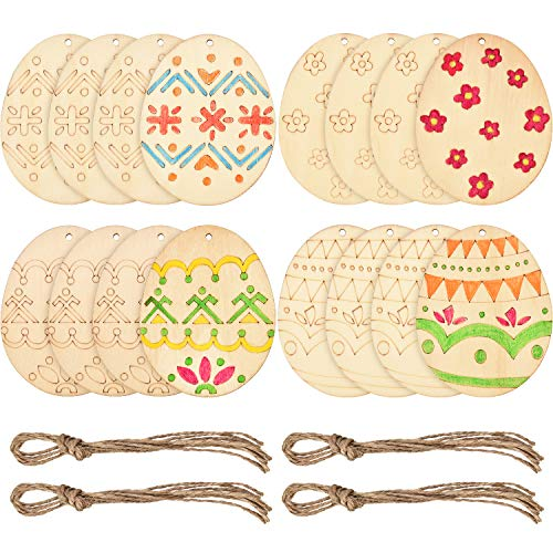 Boao Easter Egg Wood Slices Craft Hanging Egg Decorations for DIY Home Decor (16 Pieces)