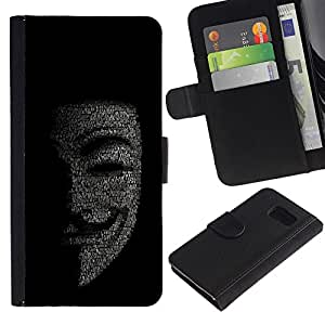 KingStore / Leather Etui en cuir / Samsung Galaxy S6 / Máscara Anonymous Hacker Código Tech Robot