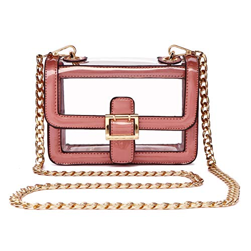 (Clear Boxy Shoulder Bag Chain Strap Crossbody Purse - NFL Stadium/Concert Venues Approved)
