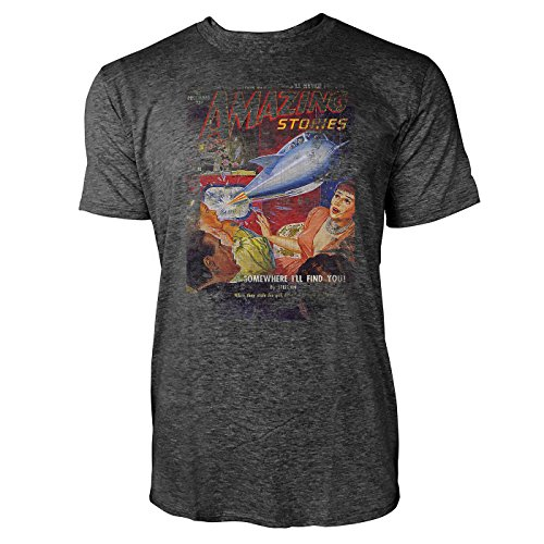 SINUS ART® Amazing Stories Herren T-Shirts stilvolles dunkelgraues Cooles Fun Shirt mit tollen Aufdruck
