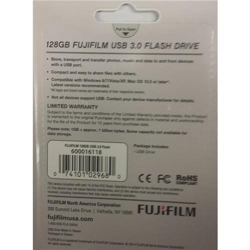 Fujifilm 128GB Capless Slider USB 3.0 Flash Drive