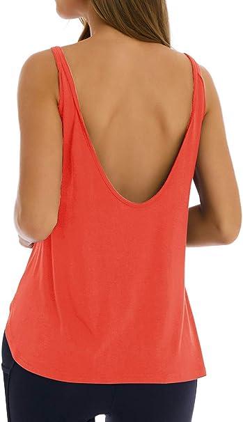 Amazon.com: Fihapyli - Camiseta de yoga sin espalda abierta ...