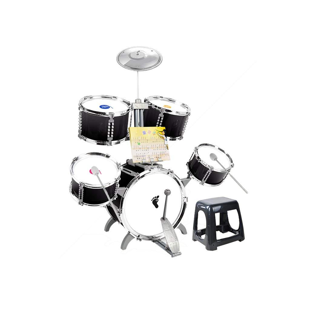 LIUFS-Trommel Kinder Drum Percussion Instrument Anfänger Spielzeug Drum Drum Simulation Doppelseitige Trommel (Farbe : SCHWARZ)