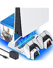 Soporte PS5 con ventilador de refrigeración y estación de carga de controlador dual PS5, con adaptador de CA rápido 5 V/3 A, soporte de ventilador de refrigeración de ventilador PS5 con succión OIVO para Playstation 5 Disc y Digital