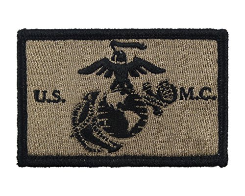 USMC EGA Patch Fully Embroidered United States Marine Corps Tactical Velcro Morale Tags (Coyote and Black) - Outstretched Wings