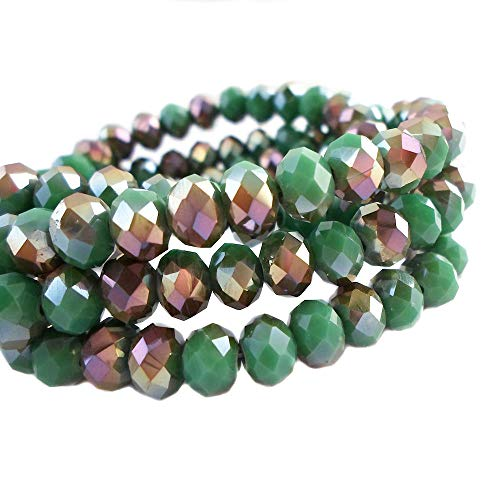 BeadsOne 8mm - 360 pcs - Glass Rondelle Faceted Beads Green Brown Multicolored for jewerly Making findings Handmade jewerly briolette Loose Beads Spacer Donut Faceted Top Quality 5040 (C111)