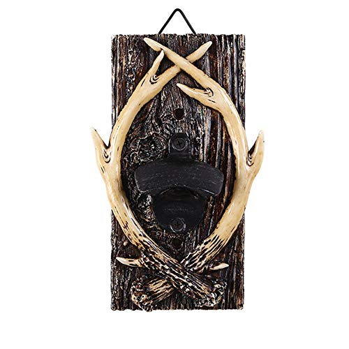 (YUSDP Wall-Mounted Bottle Opener, Antlers Shape- Rustic Vintage Durable Resin Plaque, Rich in Three-Dimensional Texture, Bar Decorative Accessories)