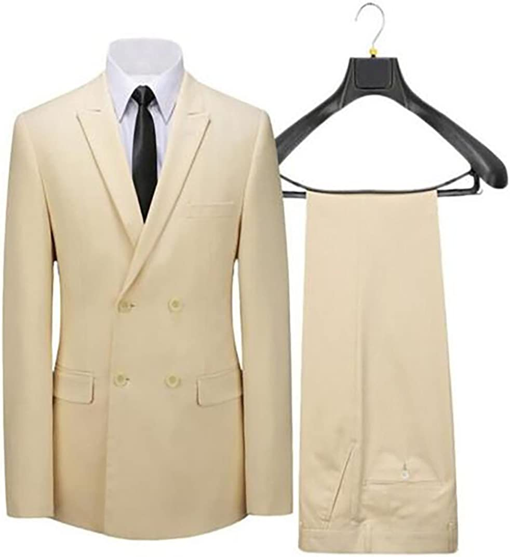 Mens 2-Pieces Beige Double Breasted Blazer Jackets Wedding Groomsmen Suits