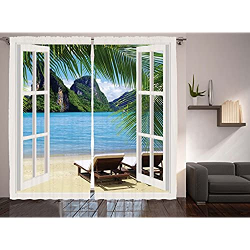 Ambesonne Nautical Curtains Palm Tree Decor By, Ocean Beach Seascape Heaven  Sunbeds Balcony White Wooden Windows Summer Tropical 2 Panels Set Curtains  For ...