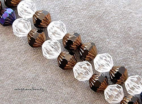 50 Preciosa Czech Fire Polished Glass Assorted 9mm Faceted Fluted Bicone Beads