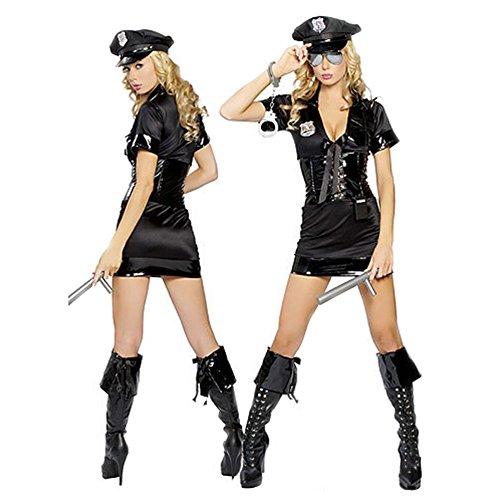 [CHN'S Women's Sexy Cop Police Uniform Masquerade Clothes with Handcuffs (Black)] (Sexy Cop Uniform)